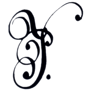 Cursive monogram or cipher P with flourishes and followed by a single dot