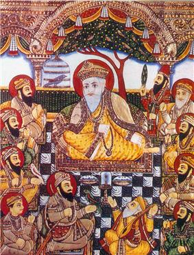 Guru Nanak with Bhai Bala, Bhai Mardana and Sikh Gurus