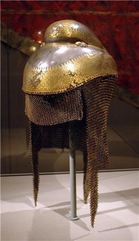 Metal helmet in a museum