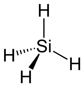 Stereo structural formula of silane with implicit hydrogens