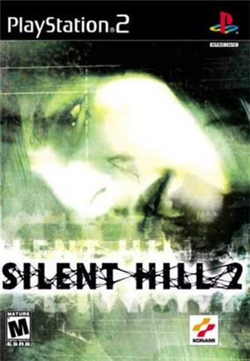 A video game cover. At the top is the PlayStation 2 logo, followed by a distorted, green-tinted close-up of the side of a person's face above the Silent Hill 2 logo. At the bottom is the Entertainment Software Rating Board's rating of the game as Mature, and Konami's logo.