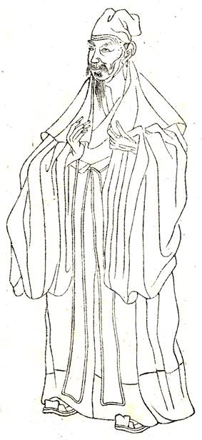 A line drawing of an older man with a thinning beard in thick robes and a soft, floppy cap.