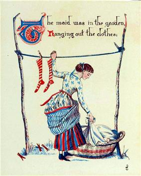 woman in patterned dress with lifted petticoats hangs using left hand to hang a sock from a laundry line while bending down to lift a garment from a laundry basket with right hand