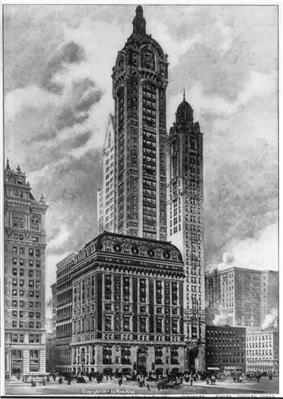 Drawing of a 50-story building with a square-cross section; a large tower projects from one corner of the building, and the tower has a rounded roofline with a tapering spire.