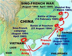 Map of the Sino-French war.