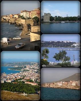 A collage of Sinop, Turkey. Top left: view of Sinop North Wall, nearby Demirci and Bezirci area; top right: Sinop Fortress and Port of Sinop;middle right: View of Plaj Yolu, nearby Sinop Anadolu Imam Hatip College from Baris Manco Park;bottom left: Panorama view of downtown Sinop, from Hippodrome Hill; bottom right: Hamsilos resort area