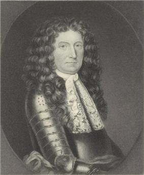 A half-length engraved black and white portrait of Edmund Andros. He wears metal plate armor, and a lace collar or cravat is visible.