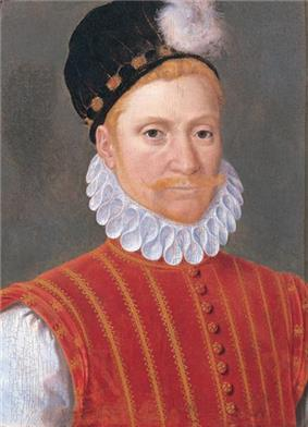 Painting of a man with a red moustache