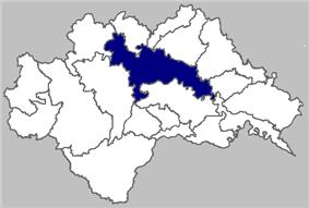 Map of Sisak within Sisak-Moslavina County