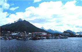 View toward Sitka from the Pacific Ocean. Sitka is the only town in Southeast Alaska that faces the Gulf of Alaska head-on.