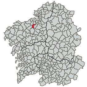 Situation of Carral within Galicia