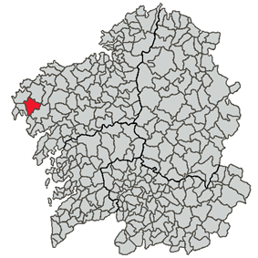 Location of Dumbría within Galicia