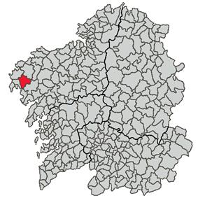 Location of Dumbría within Galicia
