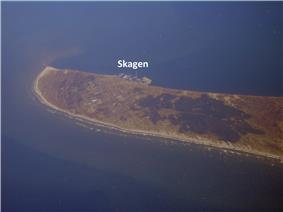 Aerial view of the Skagen Odde peninsula in the far north of Jutland, from the southwest of Skagen