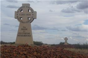 Photograph of two memorial crosses on stone mounds
