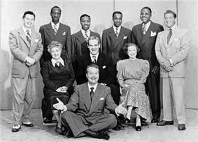 Skelton with the cast of the Raleigh Cigarette Program, 1948