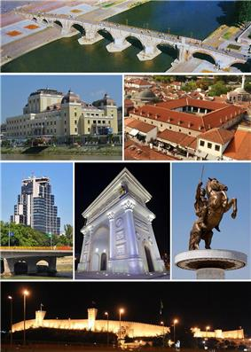 From top to bottom, left to right: <br> <br>Macedonian National Theatre •  in the  <br>  •  •  statue<br>