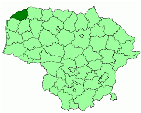 Location of Skuodas district municipality within Lithuania