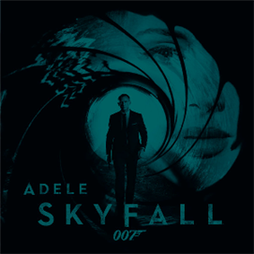 A green-tinted image of the James Bond gun barrel. Adele's face is stamped in the barrel, and Daniel Craig's Bond is coming out of the barrel towards the viewer. The text