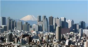 Skyscrapers of Shinjuku with Mt Fuji in the background.
