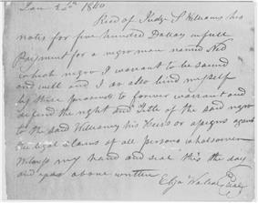Handwritten receipt for slave