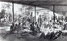 An etching depicting the interior of a large, open-sided shed with shirtless men huddling around a cooking pot in the foreground, various figures engaged in other activities in the background, and mounted riders entering the building from the left side of the picture