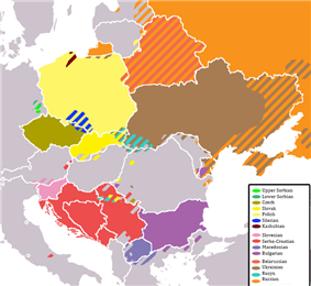 Map of Europe indicating where Slavic languages are spoken