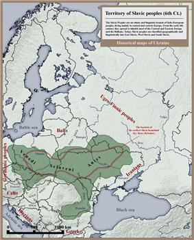 Map of the expansion of the Early Slavs