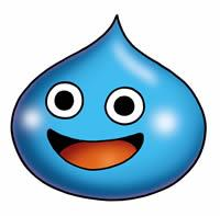 A blue, tear-drop shaped creature with large round black eyes, a wide mouth and a red tongue.