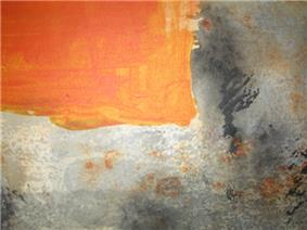 Opaque red/orange square in the upper-right corner looks opaque like oil paint. The textured grey/black area looks like watercolor.