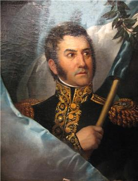 Painting of San Martín holding the Argentine flag