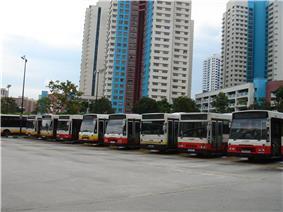 SMRT Buses parked at the former bus interchange next to Bukit Panjang Plaza.