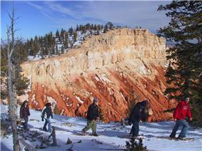 A line of snowshoers with colorful rock cliff in background.