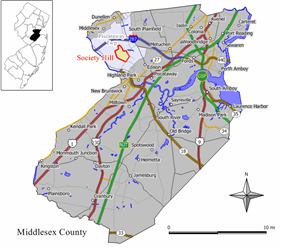 Map of Society Hill highlighted within Middlesex County. Inset: Location of Middlesex County in New Jersey.