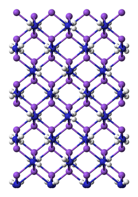 Ball and stick, unit cell model of sodium amide