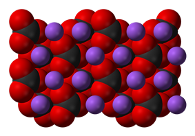 Space-filling model of sodium carbonate