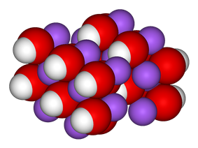 Unit cell, spacefill model of sodium hydroxide