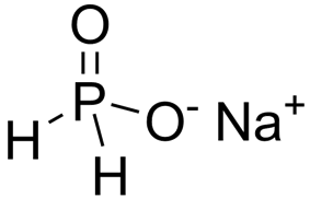One sodium cation and one hypophosphite anion