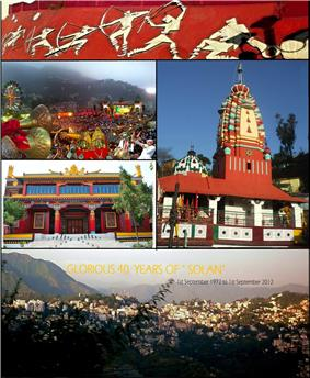 From top, left to right: Thodo dance of Solan; Shoolini Utsav; Shoolini Devi Temple Solan; Yung Drung Monastery, Dholanji, Solan; panoramic view of Solan city