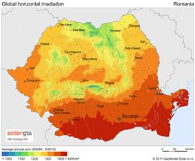 Solar map of Romania