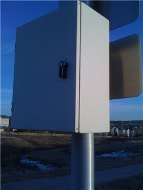 Solar Panel Battery Enclosure on Traffic Light