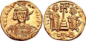 Obverse and reverse of gold coin, with a crowned bearded man carrying a spear over his shoulder on the first, and two standing, robed and crowned men carrying globus crucigers on either side of a cross on a pedestal on the second