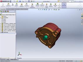 The SolidWorks user interface, showing feature based history dependent modeling.