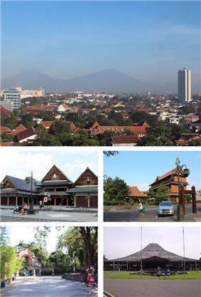 Clockwise: Skyline of Solo, Omah Sinten, Pura Mangkunagaran, Sriwedari, Windujenar Market
