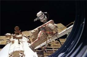 Solovyev on a spacewalk