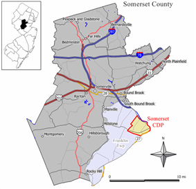 Map of Somerset CDP highlighted within Somerset County. Right: Location of Somerset County in New Jersey.