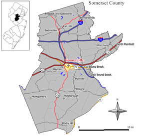 Map highlighting Somerville's location within Somerset County. Inset: Somerset County's location within New Jersey