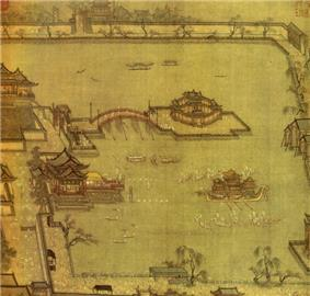A painting of people boating in a lake. There is a small island in the centre of the lake, connected to the mainland by an arched bridge. The entire lake is surrounded by a low wall.