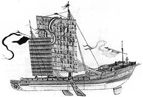 An illustration of a long, thin ship with a large, square main sail and a smaller rectangular sail in the front, as well as a rotor at the rear of the vessel and two stabilizing fins, one on each side of the ship, about halfway between the front and the rear of the vessel.