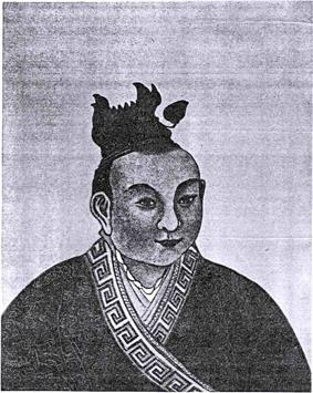 An illustration of a younger middle aged man with no facial hair, wearing a robe with a patterned trim.
